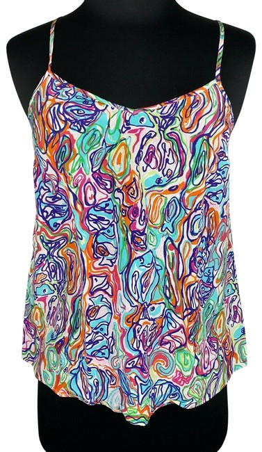 Item - Multicolor XS Abstract Fish Patterned Dusk Racer Back Silk Tank Top/Cami Size 0 (XS)