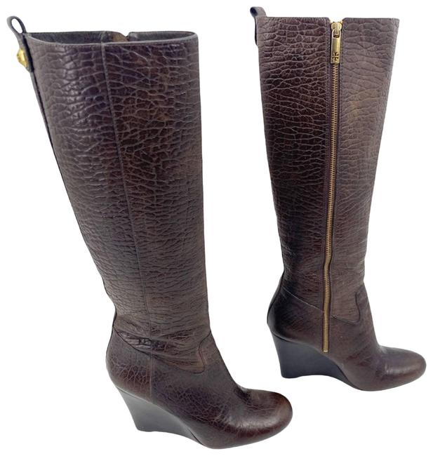 Item - Brown Dabney Croc Leather Wedge Knee Boots/Booties Size US 10 Regular (M, B)
