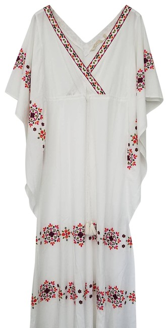 Item - White Cerise Embroidered Swimsuit Kaftan Dress Cover-up/Sarong Size 6 (S)