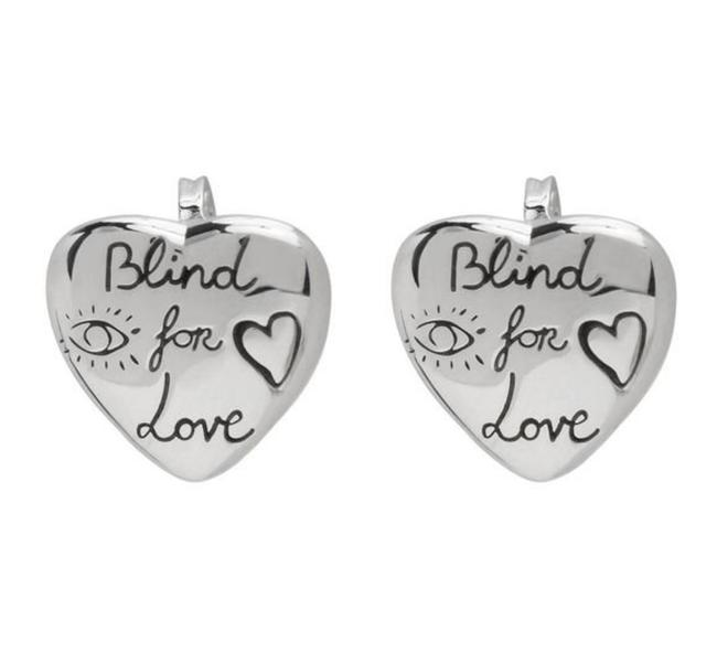 Item - Silver Sterling Blind For Love Logo Etched Heart Stud Earrings