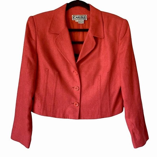 Item - Pink Textured Button Up Coral Long Sleeves Gold Chain Blazer Size 12