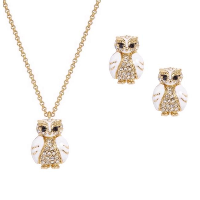 Item - Star Bright Owl Necklace Earrings Set