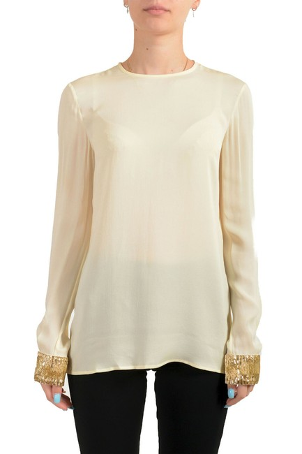 Item - Ivory Women's Silk See Through Tunic Blouse Size 4 (S)