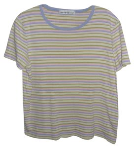 Jones New York M T Shirt PASTEL STRIPES PURPLE PINK LIME WHITE