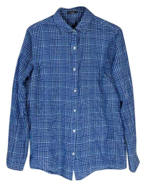 Item - Blue White Button-down Top Size 4 (S)