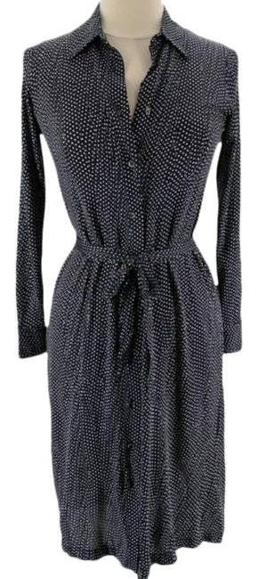 Item - Blue White XS Navy and Polka Dot Collared Long Sleeve Mid-length Work/Office Dress Size 2 (XS)