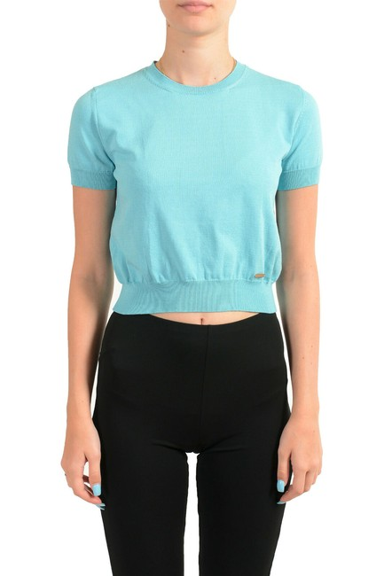 Item - Sky Blue Women's Cropped Knitted Blouse Size 2 (XS)