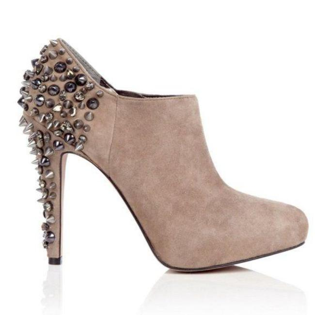 Item - Tan Silver Renzo Spike Studded Ankle Platform Boots/Booties Size US 7.5 Regular (M, B)