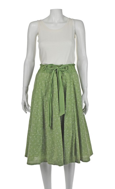 Item - Green Cotton Embroidered with Drawstring Waist Skirt Size 4 (S, 27)