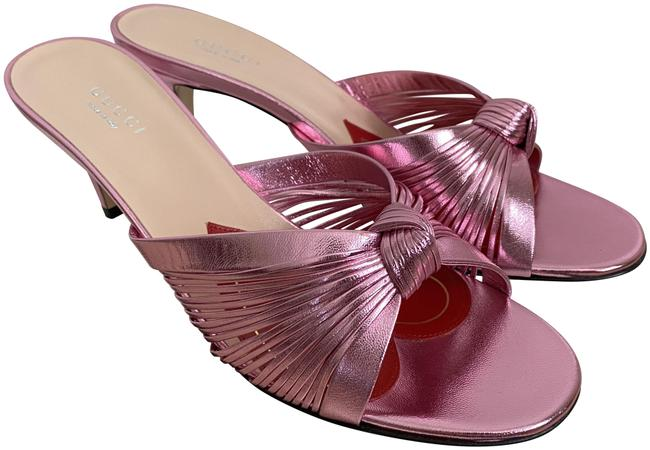 Item - Pink Crawford Leather Knotted Strap Mule Sandals Pumps Size EU 37.5 (Approx. US 7.5) Regular (M, B)