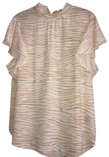 Item - Beige and White Smocked Collar Flouncy Sleeves Blouse Size 12 (L)