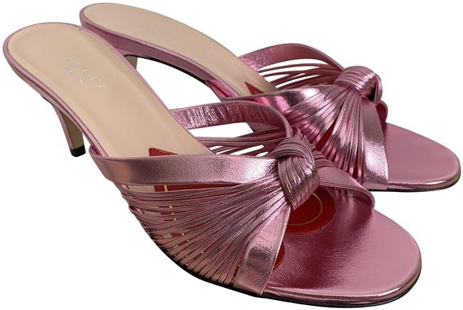 Item - Pink Crawford Metallic Leather Knotted Strap Mule Sandals Pumps Size EU 37 (Approx. US 7) Regular (M, B)