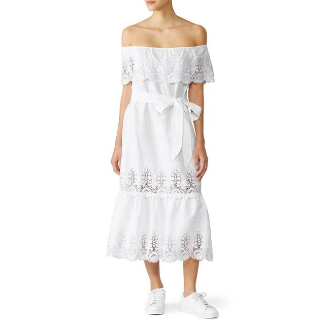 Item - White Lisselle Off The Shoulder Tiered Midi Lace Short Casual Dress Size 4 (S)