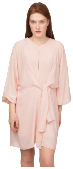 Item - Pink Light Blush Nude Basic Solid Crepe Long Sleeves Tie Shift Short Casual Dress Size 12 (L)