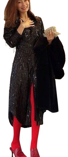 Item - Black Limited Edition Sequin Fringe Mid-length Night Out Dress Size 8 (M)