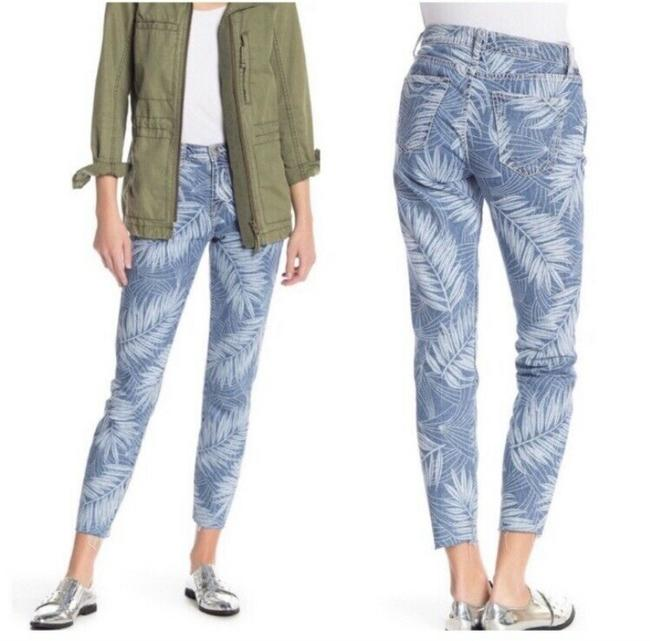 Item - Blue Light Wash  Womens The Stiletto Cropped Leaf Print Skinny Jeans Size 32 (8, M)