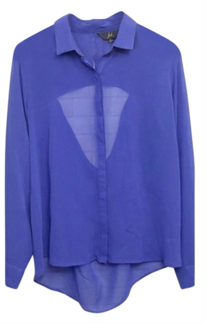 Item - Blue Semi Sheer Shirt with Cut Out Button-down Top Size 12 (L)