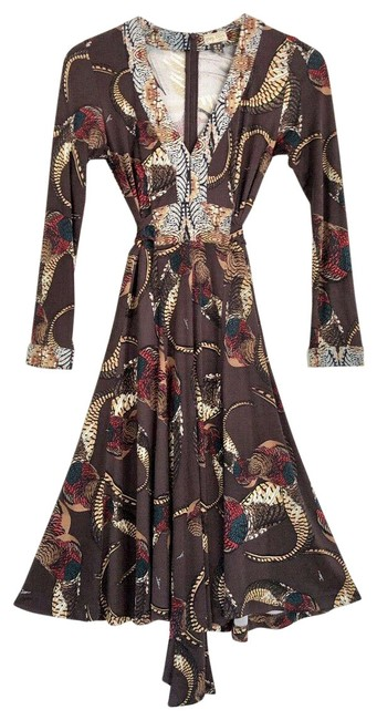 Item - Brown Feather Animal Print Silk Belted Wrap Mid-length Short Casual Dress Size 6 (S)