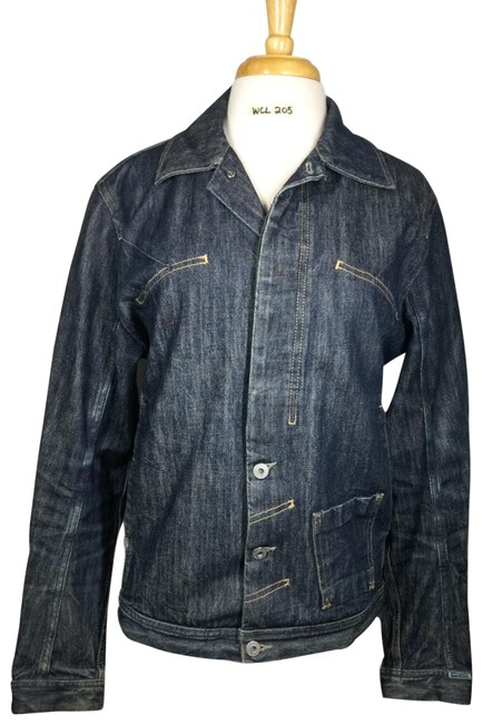 Item - Blue Button Front Collared Long Sleeve Medium Jacket Size 8 (M)