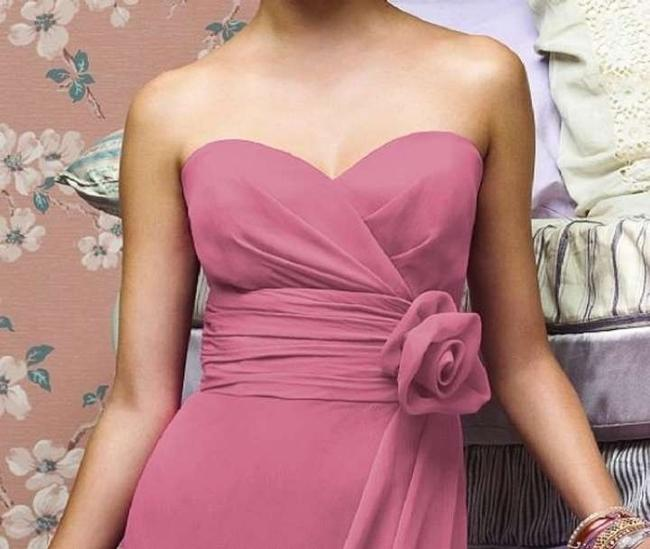 Lela Rose Strapless Chiffon Tea Length Dress