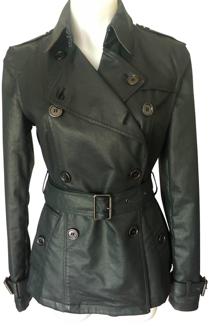 Item - Ink with Tag Faux Leather Double-breasted Mid Length Coat Size 8 (M)