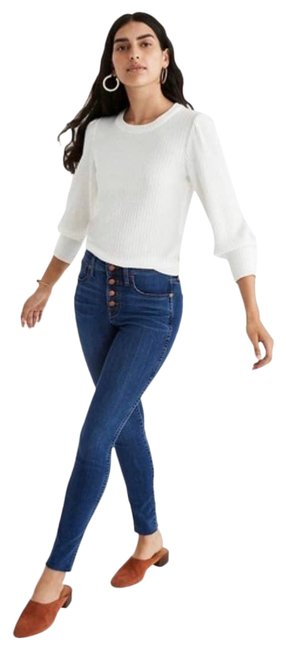 """Item - Blue Women's Button Fly 9"""" Mid - High-rise Skinny Jeans Size 29 (6, M)"""
