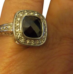 Other Silver Ring with Black Stone and CZ