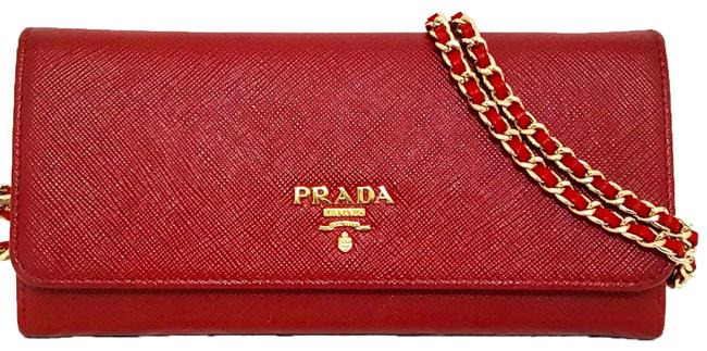 Item - Red Gold Saffiano Leather Long Flap with Card Id Pass Case Phone Holder Wallet