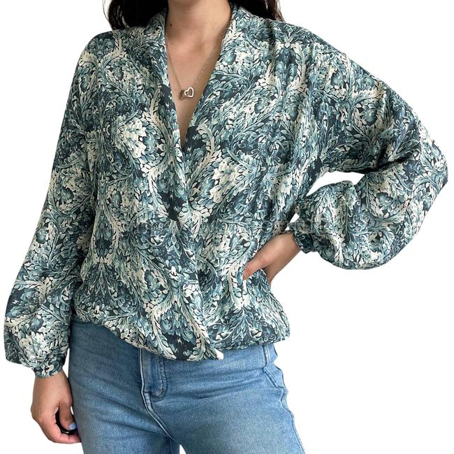 Item - Blue White Tapestry Floral Faux Wrap Silk Blouse Size 8 (M)