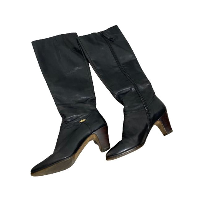 Item - Black Tall Leather Boots/Booties Size US 4.5 Regular (M, B)