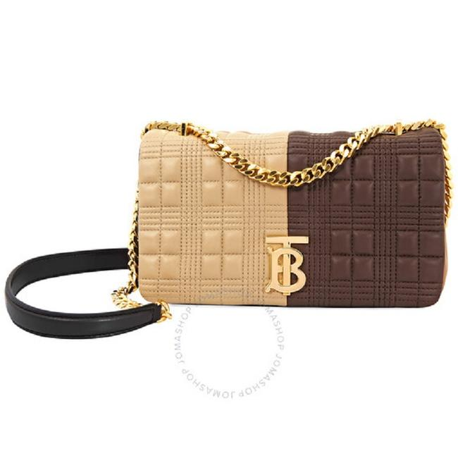 Item - Shoulder Small Quilted Colour Block Lola Brown/Tan Lambskin Leather Cross Body Bag