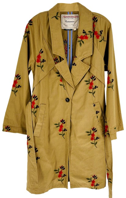 Item - Tan Embroidered Trench Jacket Size 4 (S)