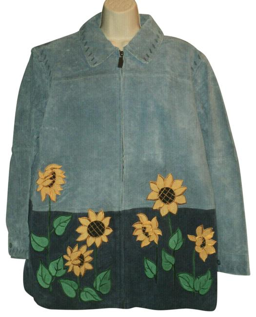 Item - Blue Suede Front Zipped Sunflowers Lined Jacket Size 20 (Plus 1x)