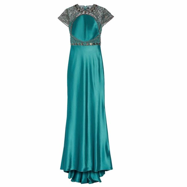 Item - Turquoise Satin 1930s Gown Long Formal Dress Size 6 (S)