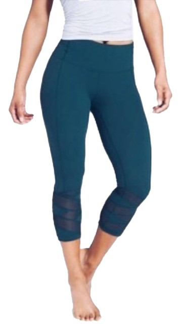 Item - Green Blue Mantra Mesh Cropped Leggings Mt M Tall Activewear Bottoms Size 8 (M, 29, 30)