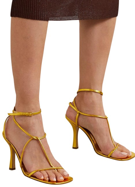 Item - Gold Barely There Stretch Ankle Strap Leather Sandals Size EU 35 (Approx. US 5) Regular (M, B)