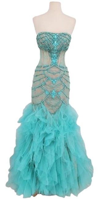 Item - Teal Couture Lace Beaded Strapless Long Formal Dress Size 2 (XS)