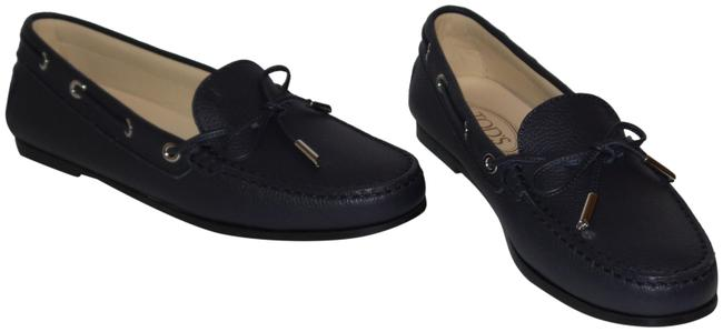 Item - Dark Blue Up Round-toe Moccasins Leather Loafers Flats Size EU 39.5 (Approx. US 9.5) Regular (M, B)