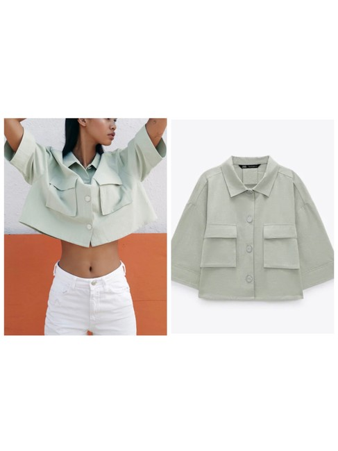 Item - Green Rustic Cropped Oversized Shirt Blouse Size 8 (M)