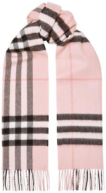 Item - Pink Fringed Checked Cashmere-twill Scarf/Wrap
