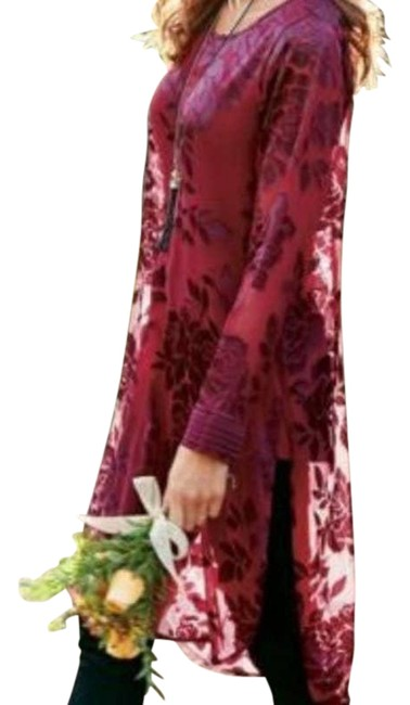 Item - Red Scarlett Tunic Long Legging Textured Floral Blouse Size 16 (XL, Plus 0x)