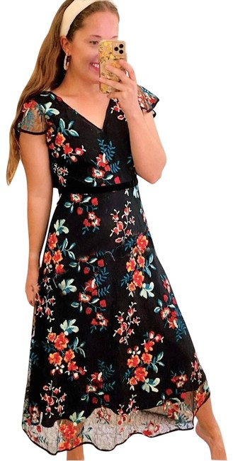 Item - Black Ny Floral Embroidered Long Casual Maxi Dress Size 4 (S)