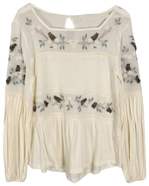 Item - White Embroidered Long Sleeve Blouse Size 2 (XS)