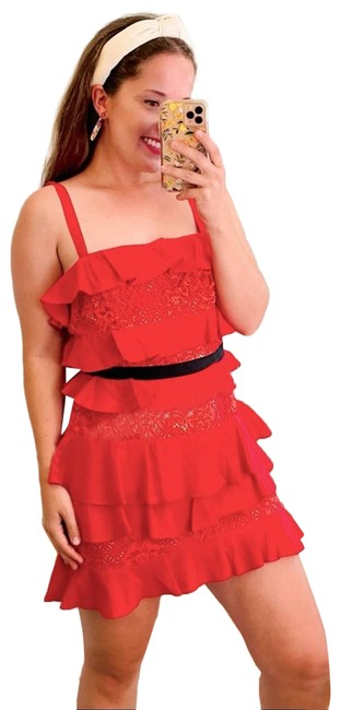 Item - Red Tiered Cosmic Mini Cocktail Dress Size 4 (S)