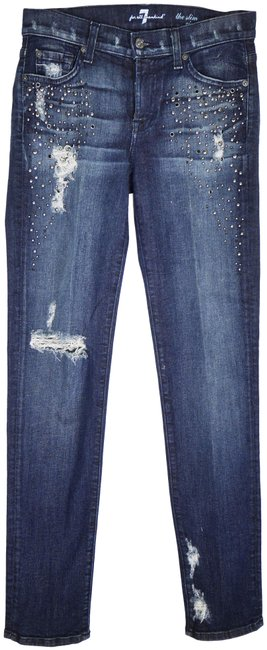 Item - Grey Tint Destroyed The Slim Cigarette with Crystals Skinny Jeans Size 28 (4, S)