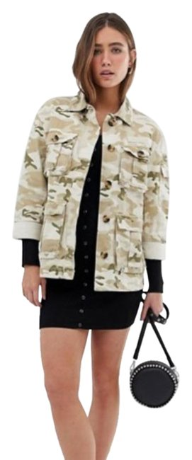 Item - Green Natural Camo Army In Beige Small Jacket Size 6 (S)