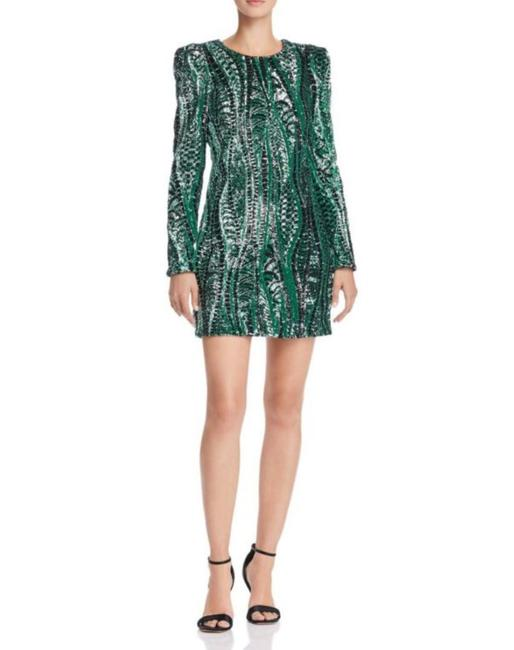 Item - Green Long Sleeve Sequined Short Cocktail Dress Size 8 (M)