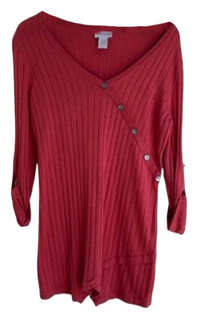 Item - Ribbed V-neck Tunic Pink Sweater