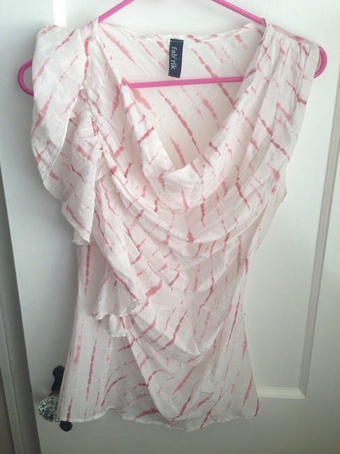 fab'rik Top White with pink Stripes