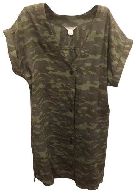 Item - Camo Print Olive Faded Mid-length Short Casual Dress Size 10 (M)